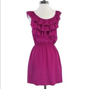 AMANDA UPRICHARD FUSCHIA SILK RUFFLE MINI DRESS